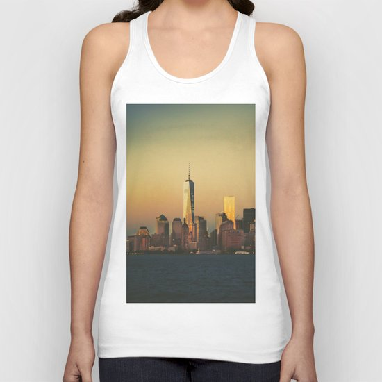 New York City Skyline - Dramatic Sunset Unisex Tank Top