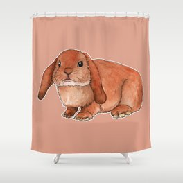 Red rabbit ram Shower Curtain