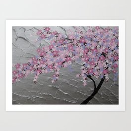 Cherry blossom, in pink and purple, with silver background - zen picture Art Print