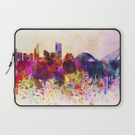 Valencia skyline in watercolor background Laptop Sleeve