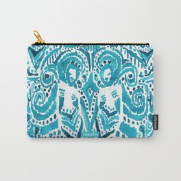 #MERMLIFE Blue Ikat Watercolor Mermaids Carry-All Pouch