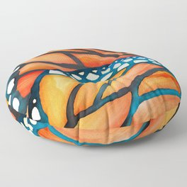 Monarch Butterfly Wings Watercolor Abstract Floor Pillow