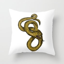 Viper Coiled Ready To Pounce Drawing Throw Pillow