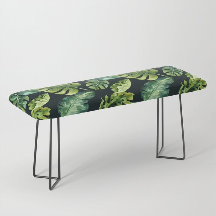 Watercolor Botanical Tropical Palm Leaves on Solid Black Background Bench