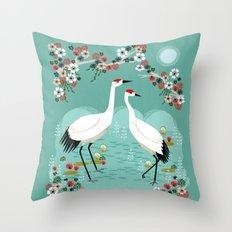 Cranes by Andrea Lauren Throw Pillow