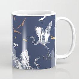 Flying Egrets With Blue Background Coffee Mug