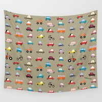 cars Wall Tapestries featuring Cars by Marcelo Badari