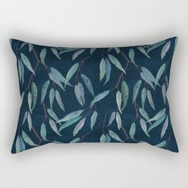 Eucalyptus leaves on indigo blue Rectangular Pillow