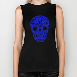 blue and white skull.. where white is will be transparent on shirts Biker Tank