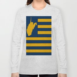 West Virginia Flag State Map Long Sleeve T-shirt