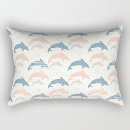 Blue and Pink Cute Kids Dolphin Silhouette Wave Rectangular Pillow