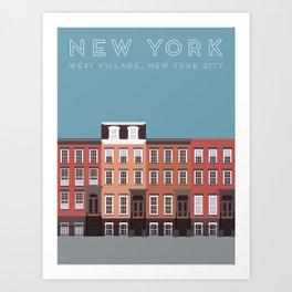 New York City, NYC, West Village Travel Poster Art Print
