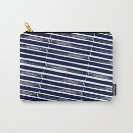 Textured Blue Diagonal Lines Carry-All Pouch