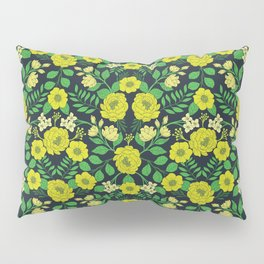 Kelly Green, Navy Blue, Lime & Yellow Floral Pattern Pillow Sham