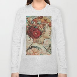 Lady With Flowers - Alphonse Mucha Long Sleeve T-shirt