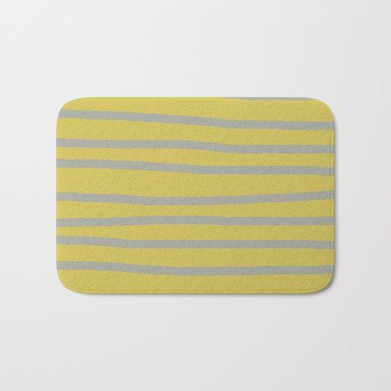 Simply Drawn Stripes Retro Gray on Mod Yellow Bath Mat