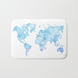 Light blue watercolor world map Bath Mat