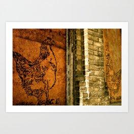 Chickens Chatting Art Print