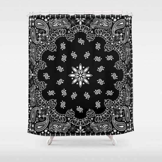Black And White Bandana Pattern Shower Curtain By Martaolgaklara | Society6