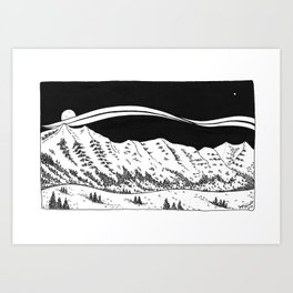 Bridger Mountain Range  Art Print