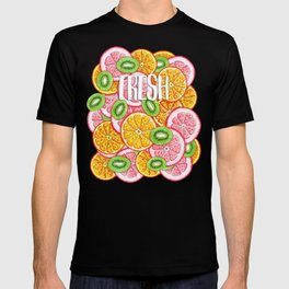 Summer pattern Orange grapefruit and kiwi fruit T-shirt