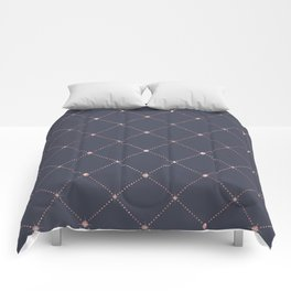 Girly Pink Rose Gold Diamond Navy Blue Geometric Comforters