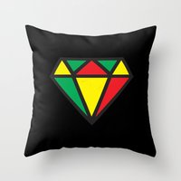 reggae Throw Pillows featuring Reggae Diamond by Grime Lab