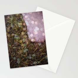 Grass, bokeh and stone Stationery Cards
