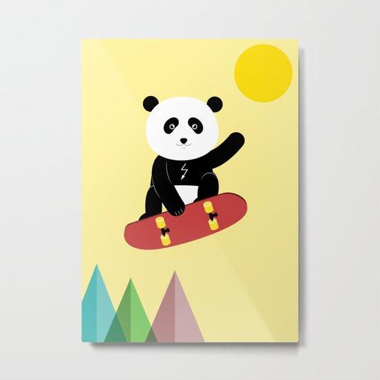 Panda on a skateboard Metal Print