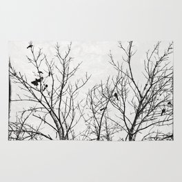 Birds in Branches Gothic Silhouette Rug