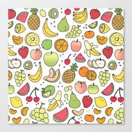Juicy Fruits Doodle Canvas Print