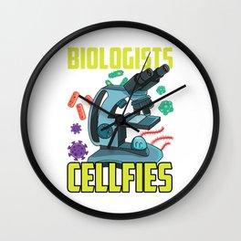 Cute Biologists Take Cellfies Science Selfies Pun Wall Clock