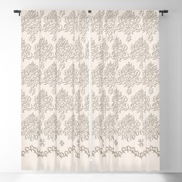 "Damask ""Cafe au Lait"" Chenille with Lacy Edge Blackout Curtain"