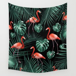 Tropical Flamingo Night Pattern #1 #tropical #decor #art #society6 Wall Tapestry