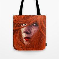 redhead Tote Bags featuring redhead by Nuria Mrtz. FotoArt
