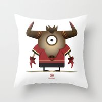 taurus Throw Pillows featuring TAURUS by Angelo Cerantola