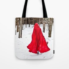 Little Red Riding Hood Runs Through The Woods In Winter Tote Bag