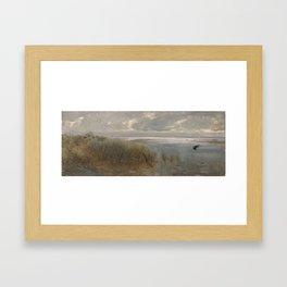 Lake landscape near Naples by Giuseppe de Nittis - Italian Fine Art Oil Painting Framed Art Print