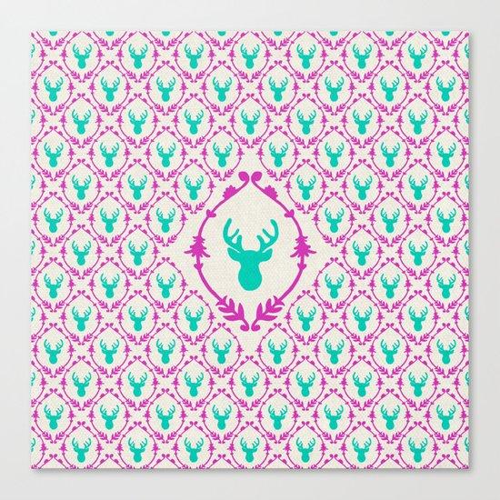 Oh Deer (teal) Canvas Print