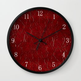 Dark claret puckered leather abstract Wall Clock