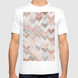 Rose Gold and Marble Geometric Tiles T-shirt