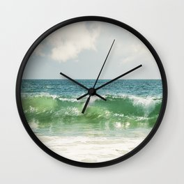 Ocean Sea Landscape Photography, Seascape Waves, Blue Green Wave Photograph Wall Clock