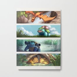 [Pokémon] 1st Generation Starters: Evolved! Metal Print