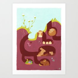 Warren (Rabbits, Burrowing Owls, and Hedgehog) Art Print