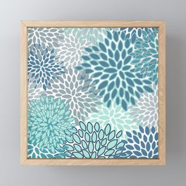 Festive, Floral Prints, Teal, Turquoise and Gray Framed Mini Art Print
