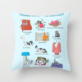 Things Cats Will Destroy Throw Pillow