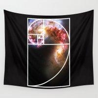 fibonacci Wall Tapestries featuring Fibonacci Spiral Galaxy by Galactic Mantra