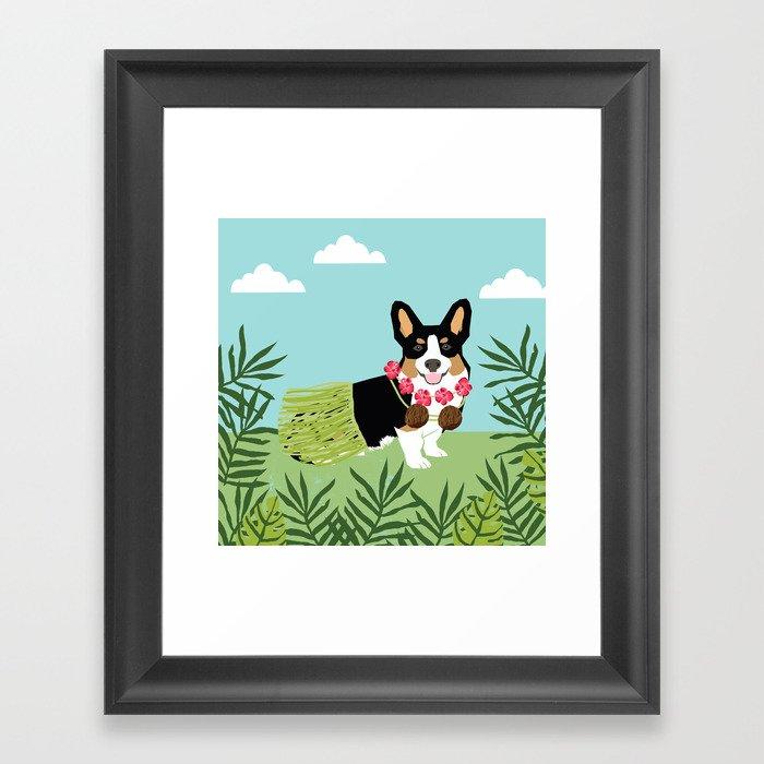 Tri Corgi Hula Dog Summer Tropical Palm Print Palm Tree Dog Gerahmter Kunstdruck