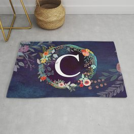 Personalized Monogram Initial Letter C Floral Wreath Artwork Rug