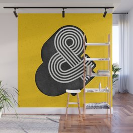 Ampersand black and white and yellow 3D typography design minimalist home decor wall decor Wall Mural